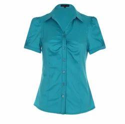 Teal Cotton Shirts, Size: Medium