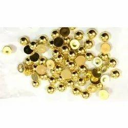 8 Half Round Golden Metalized Plastic Beads