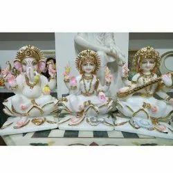 Marble Laxmi Ganesh Saraswati Statue