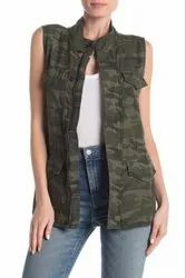 Women Export Surplus Army Print Jacket