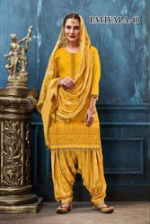 Formal Wear Patiala Salwar Latest Embroidered satin Cotton Patiyala