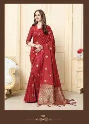 Designer Banarasi  Silk Weaving Saree With Unstitched Blouse