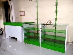 CK Engineering Wooden,Glass Front Counter, For Super Market