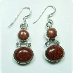 Brown Sunstone 925 Sterling Silver High Fashion Earrings