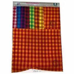 Check Linen Cotton Khadi Fabrics, Check/stripes, Multiple Colours
