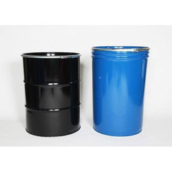 Mild Steel Black and Blue Open Mouth Industrial Drum, Capacity: 200 Litre