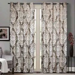 52 x 90 Inch Damask Velvet Beige Sheer Curtain