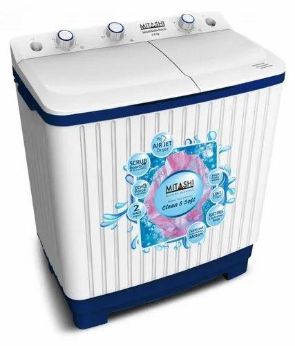 Mitashi 6.8 kg Semi Automatic Top Load Washing Machine, MiSAWM68v25 AJD, White & Blue