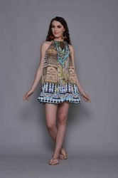 Digital Printed Silk Crepe Beach Wear