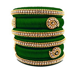 Silk Bangle In Green Colour