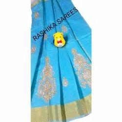 Banarasi Cotton Hand Embroidery Sky Blue Saree, 5.5 M