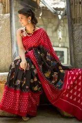 Kristi Art Red + Black Ikkat Printed Soft Mulmul Cotton Saree with Blouse, 6.3 m