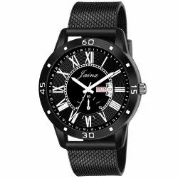 Jainx Black Mesh Band Day and Date Function Analog Watch for Men's - JM367