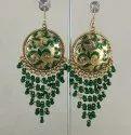 Alloy Nk Handmade Fashionable Oxidized Golden Green Earrings