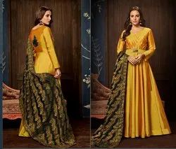 Designer Silk Gown And Banarasi Dupatta
