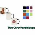Ceramic Rim Color Handle Mugs, For Home, Packaging Type: Box
