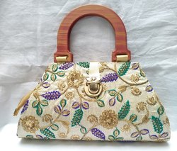 Little India Dupion Silk Floral Embroidery Work Round Wood Finish Handle Purse, Size: 10