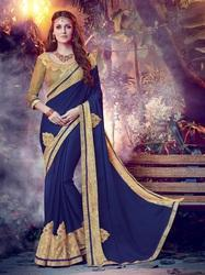 Dark Blue Moss Chiffon Saree