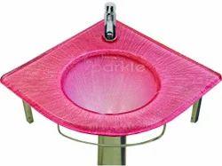 Glass Corner Wash Basin Set