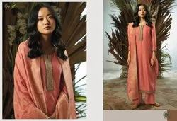 Multicolor Various Heavy Bemberg Silk With Embroidery N Sciroski Work Suits