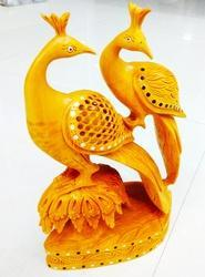Wooden Family Peacock Statue