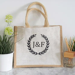 Onego Printed Jute Shopping Bag, Size: 12 X 14 X 3 Inch