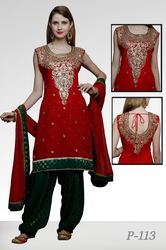 Georgette Mirror Work Maroon Green Patiala Suit