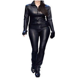 Plain Black Leather Catsuit