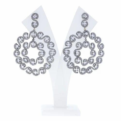 Chic Designs Black Round Filigree Diamond Earrings, Size: 61x43 MM
