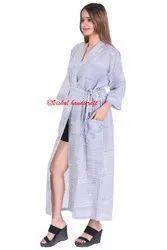 Women's Hand Block Print Striped Kimono