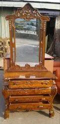 Bedroom Dresser Ace Wood Crafts Handcarved Wooden Dressing Table In Teak Wood / Sagwan, For Home