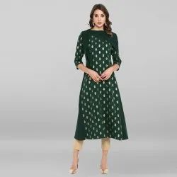 Dark Green Poly Crepe Kurta With Attached Jacket