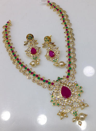 Cz and ruby emerald chain and big pendant necklace at rs 2750 piece cz and ruby emerald chain and big pendant necklace mozeypictures Gallery