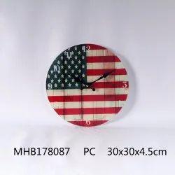 RETRONIRVANA White FLAG THEME GLASS WALL CLOCK, Size: 12 Inches Dia, Model Name/Number: 1010