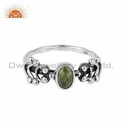 Peridot Gemstone Oxidized 925 Silver Ring Jewelry