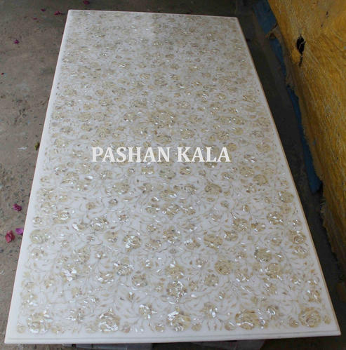 White Marble Table Top With Mother Of Pearl Inlay