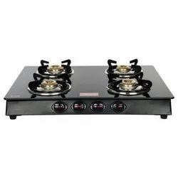 Surya Black Stainless Steel 4 Burner Gas Stove for Kitchen