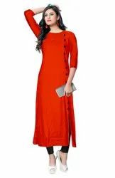 Rayon 3/4th Sleeve Round Neck Kurti