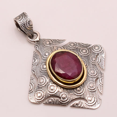224604bd6 925 Solid Sterling Fine Silver Copper Ruby Pendant at Rs 342 /piece ...