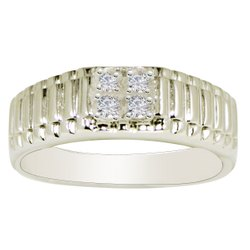 925 Sterling Silver Round Shape White Cubic Zirconia Men's Ring