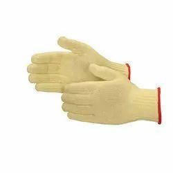 Yellow Cotton Knitted Hand Gloves