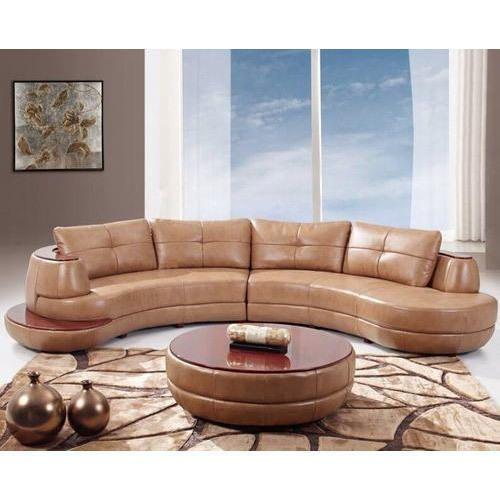 Brown Leather C Shape Sofa Set