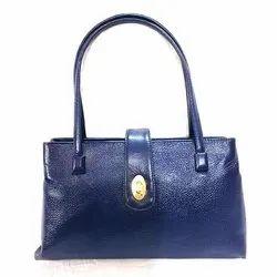 Fancy Plain Ladies Blue Leather Fashion Bags