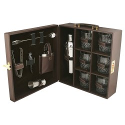 Brown Leather Bar Set Six Glasses