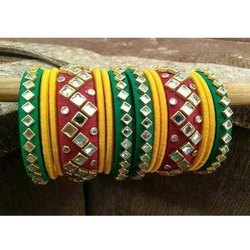 Silk Thread Bangles, For Party Wear, Round
