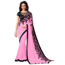Ladies Embroidered Georgette Saree, Length: 5.5 m