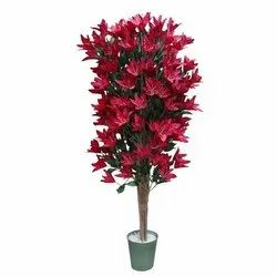 Polyester Fabric Red And Green Artificial Lily Tree, For Decoration