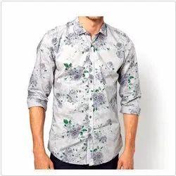 Cotton Collar Neck Mens Floral Print Shirt