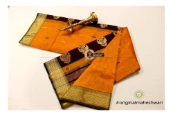 Plain Maheshwari Buta Pallu Saree, Make: Hand Made