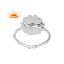 Ethiopian Opal Gemstone Flower Design Oxidized Plated Silver Rings